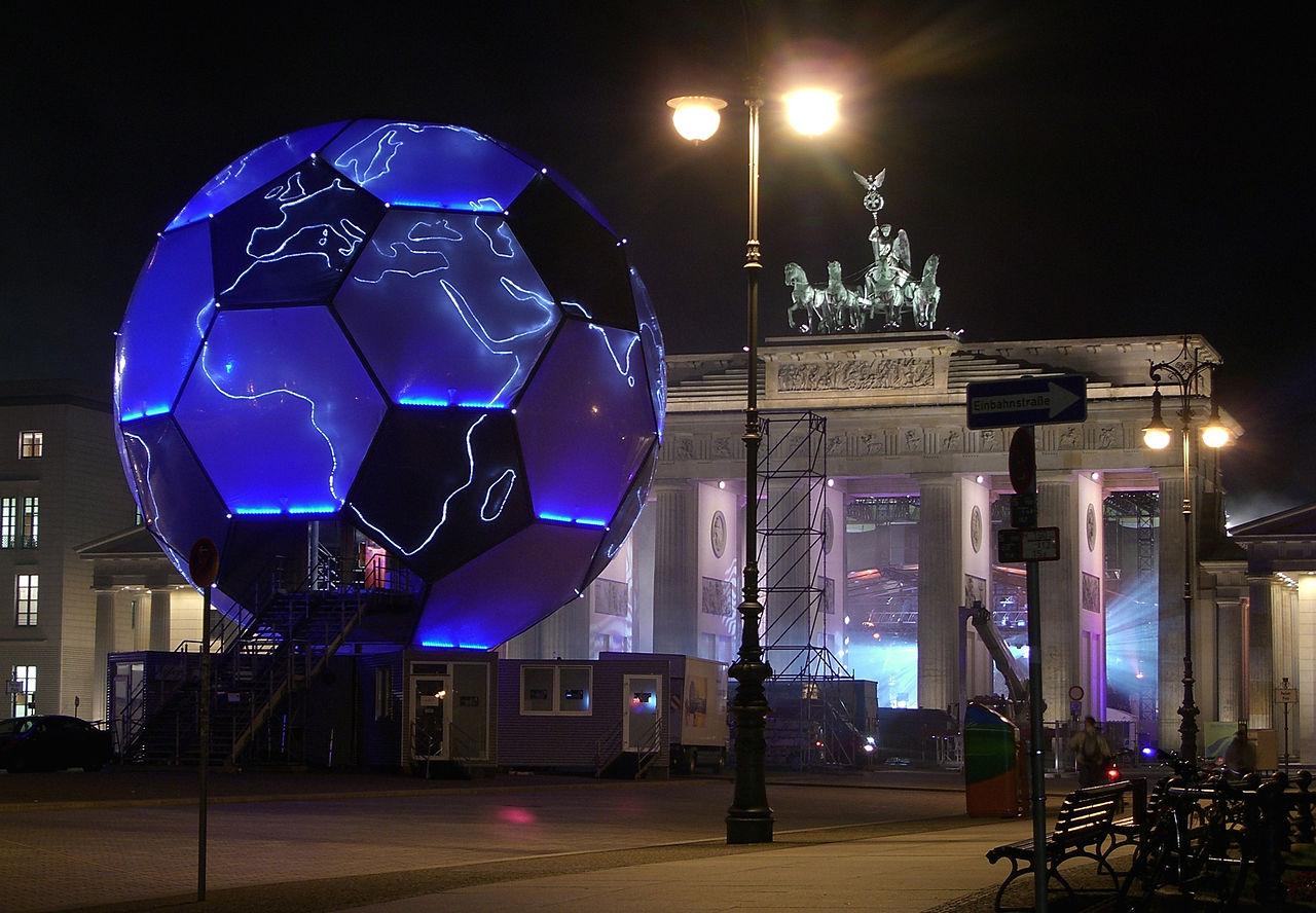 Giant Fussball at the Brandenburg Gate - Creative Commons image from http://de.wikipedia.org/wiki/Fu%C3%9Fball-Weltmeisterschaft_2006#mediaviewer/Datei:Berlin_Football_Globe-night1.JPG