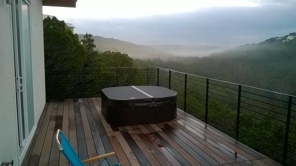 Blick von unserer Terrasse/Balkon. Unser erster Morgen im neuen Haus.